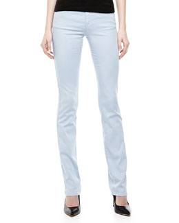 Armani Collezioni Straight-Leg Stretch Pants, Light Blue