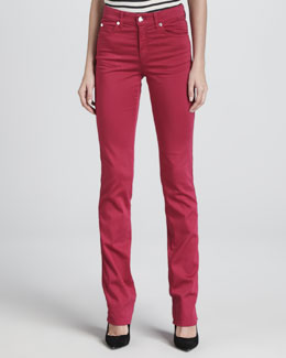 Armani Collezioni Straight-Leg Stretch Pants, Raspberry