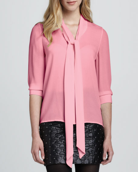 Arie Tie-Neck Blouse, Pink