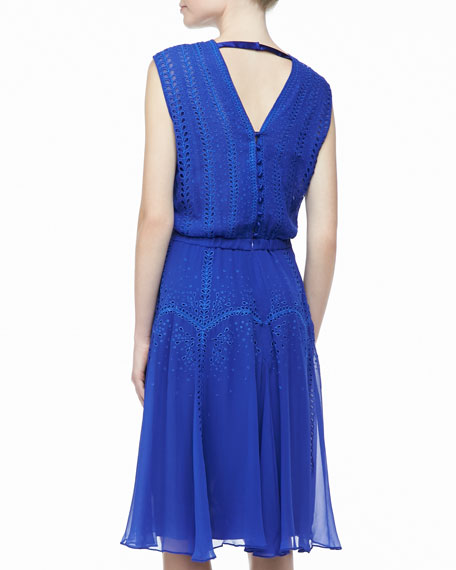 Ordrea Sleeveless Eyelet & Embroidered Dress