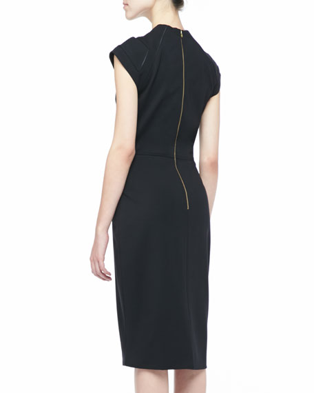 Oralia Piped Sheath Dress, Black