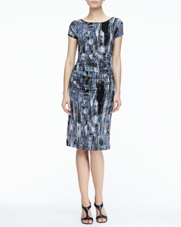 Halston Heritage Printed Ruch-Side Dress