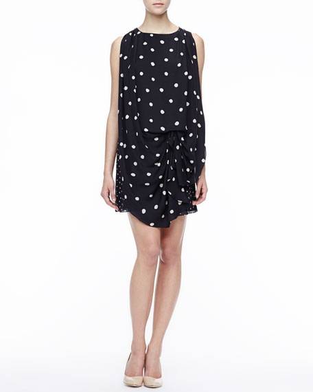 Draped Polka-Dot Dress