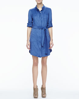 Halston Heritage Stretch Faux-Suede Belted Shirtdress
