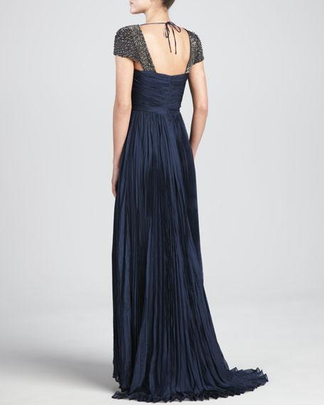 Oceana Pleated Chiffon Gown