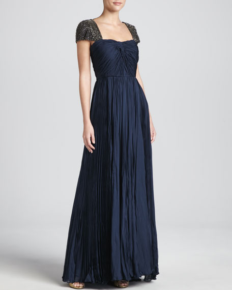 Catherine Deane Oceana Pleated Chiffon Gown