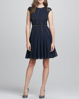 Rebecca Taylor Stud-Trim Lace-Back Cocktail Dress