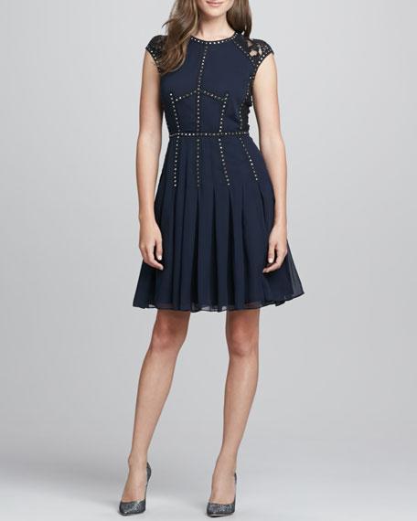 Stud-Trim Lace-Back Cocktail Dress