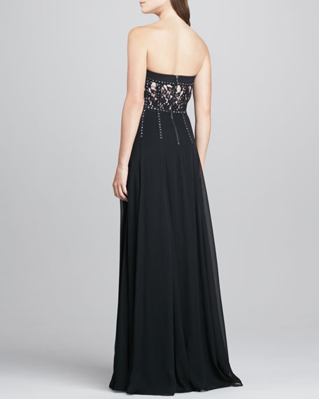 Strapless Lace Studded Gown
