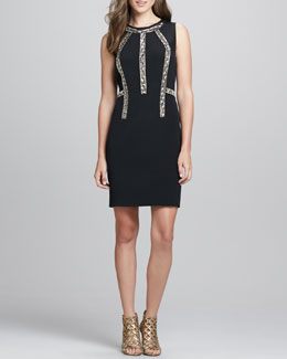 Rebecca Taylor Sleeveless Bead-Inset Cocktail Dress