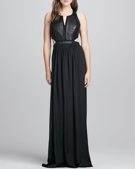 Leather-Panel Cutout Gown