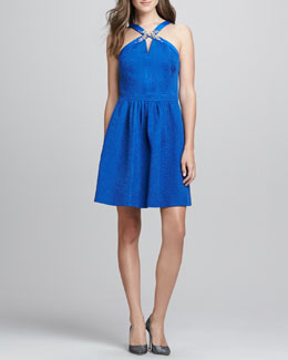 Rebecca Taylor Beaded Halter Party Dress