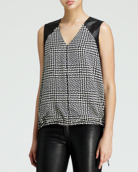 Solo Leather-Panel Top, Black/White