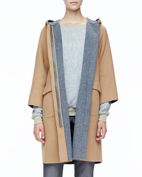 Contrast-Trim Wool Coat