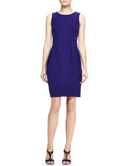 Halston Heritage Pleat-Front Crepe Dress