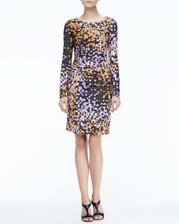 Halston Heritage Gathered-Side Printed Dress
