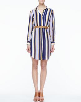 Halston Heritage Striped Belted Fuji Silk Shirtdress