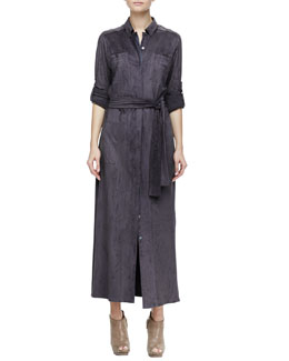 Halston Heritage Long Stretch Faux-Suede Shirtdress