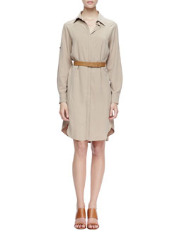 Halston Heritage Belted Fuji Silk Shirtdress