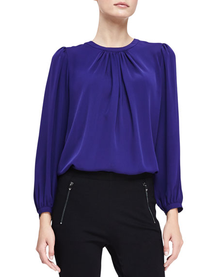 Long-Sleeve Pleated Blouse