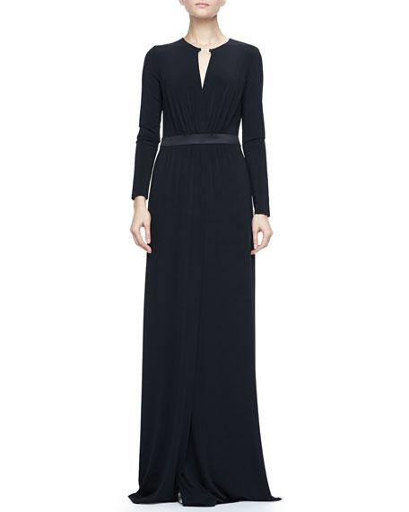 Satin-Waist Jersey Gown