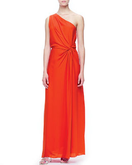 Halston Heritage One-Shoulder Side-Knot Gown