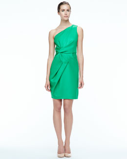 Halston Heritage Folded-Side Satin Dress