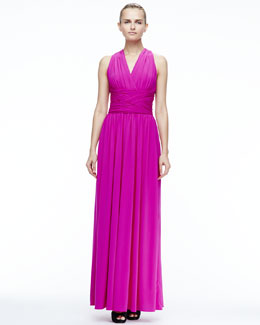Halston Heritage Ruched Open-Back Gown
