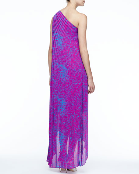 Printed One-Shoulder Gown