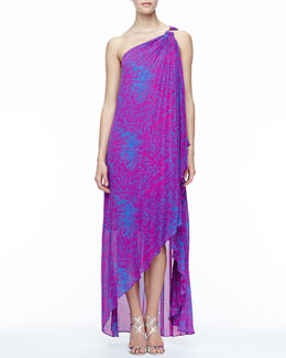 Halston Heritage Printed One-Shoulder Gown