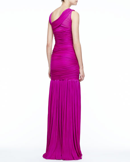 Ruched Drop-Skirt Gown