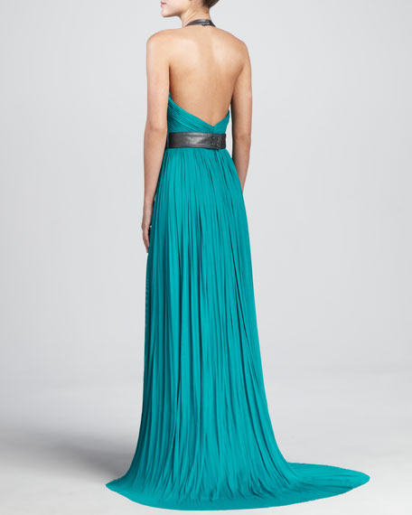 Nova Embroidered Leather-Trim Tulle Gown