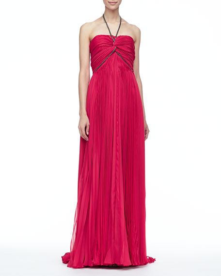 Nina Pleated Halter Gown, Berry