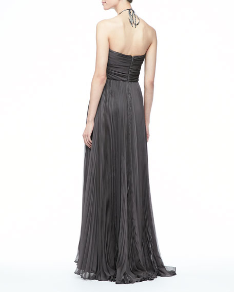 Nina Pleated Halter Gown, Gunmetal