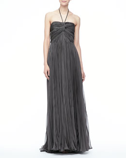 Catherine Deane Nina Pleated Halter Gown, Gunmetal