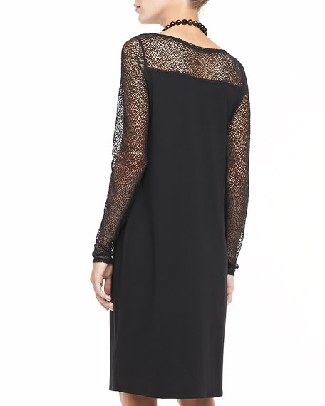 Dress With Lace Neck and Sleeves, Petite