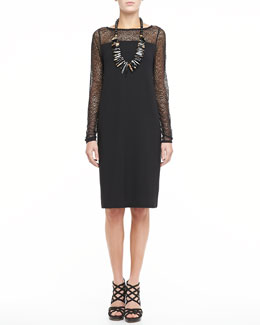 Eileen Fisher Dress With Lace Neck and Sleeves, Petite
