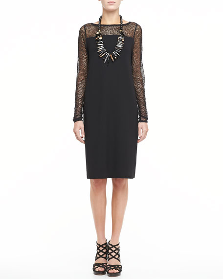 Dress With Lace Neck and Sleeves, Women's