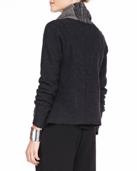 Lightweight Boiled Wool Jacket, Charcoal
