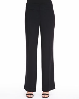 Eileen Fisher Tropical Suiting Wide-Leg Trousers, Petite