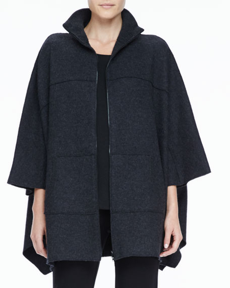 Funnel-Neck Boiled Wool Poncho