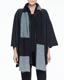 Eileen Fisher Colorblocked Mohair & Alpaca Blended Scarf