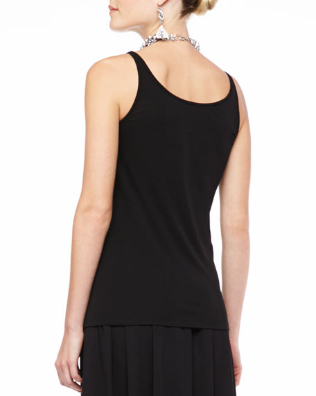 Silk-Jersey Long Slim Camisole, Black