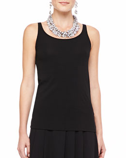 Eileen Fisher Silk-Jersey Long Slim Camisole, Black