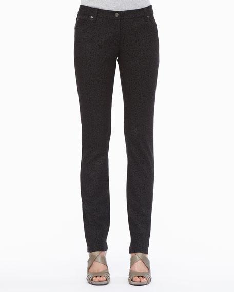 Patterned Stretch Skinny Jeans, Petite