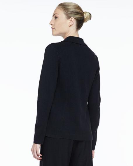 Silk-Cotton Interlock Notch-Collar Jacket, Petite