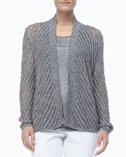 Eileen Fisher Cotton Twist Open-Weave Cardigan