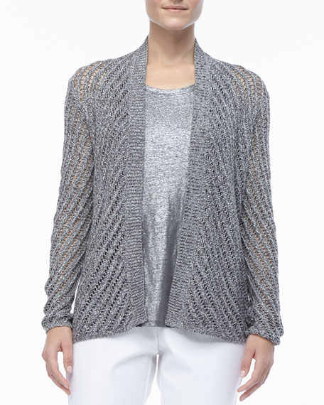 Cotton Twist Open-Weave Cardigan, Women's