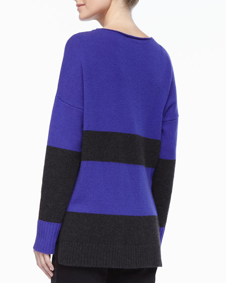 Wide-Striped Sweater Top