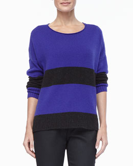 Eileen Fisher Petite Striped Bateau-Neck Top